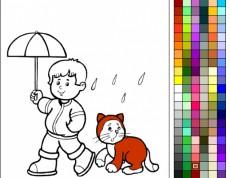 Omaľovanka - Chlapec s mačkou