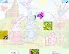 Easter Happy Puzzle - Puzzle so zajkami