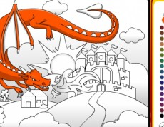 Castle Dragon Coloring - Omaľovanka s drakom