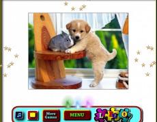 Rabbit vs Dog - Puzzle králik a šteniatko