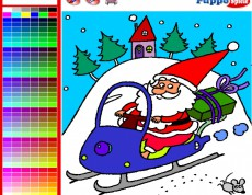 Santa Claus on Snowmobile - Vyfarbi si Santa Clausa!