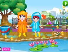 Baby And Friend Rainy - Kamarátky pri jazierku